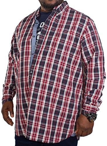 Duke Herren D555 Truman langärmlig CKECKED Hemd und T-Shirt Kombination - rot/marineblau Rot