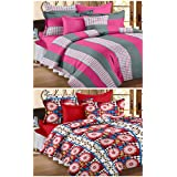 Story@Home Premium Magic Combo 152 TC 2 Pieces Bedsheets with 4 Pillow Covers - Maroon, Gray