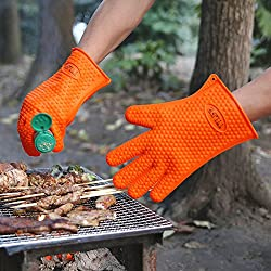 TTLIFE Guantes de Silicona,Manoplas para Ollas y Hornos,Resistente al Calor,Guantes Impermeables para Hornear Barbacoa BBQ Guantes Higiénicos de Cocina (Naranja)