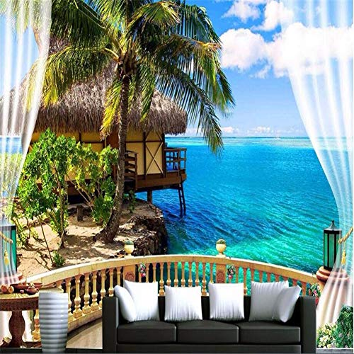 HUANGYAHUI Carta da Parati Moda Grande muraleCarta da Parati 3D HD Balcone Finestra Spiaggia Mare Palma capanna Vacanza Sfondo Personalizzato Foto di Seta Carta da parati-400cm W x 250cm H