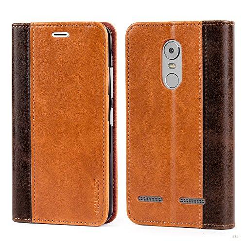 Mulbess (Book Style) Premium Handy Schutzhülle Ledertasche im Kartenfach für Lenovo K6 Tasche Hülle Leder Etui Schale,Braun