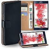 moex Samsung Galaxy Note 5 | Hülle Schwarz mit Karten-Fach 360° Book Klapp-Hülle Handytasche Kunst-Leder Handyhülle für Samsung Galaxy Note 5 Case Flip Cover Schutzhülle Tasche