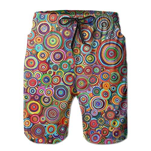ZKHTO New Psychedelic Trippy Art Candle Men's Beach Pants,Shorts Beach Shorts Swim Trunks -