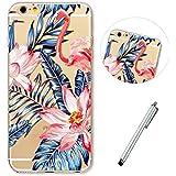 Lanpangzi Telefon Hülle für iphone7 Weich TPU Ultra Schlank Handyhülle Silikon Anti Scratch Schutz Bumper Case - Gemalter Flamingo + Metall Berühren Stift