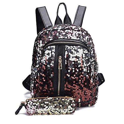 DEELIN Mode Mädchen Pailletten Schultasche Rucksack Reise Umhängetasche + Clutch Wallet (Boutique Für Schuhe Kleinkinder)