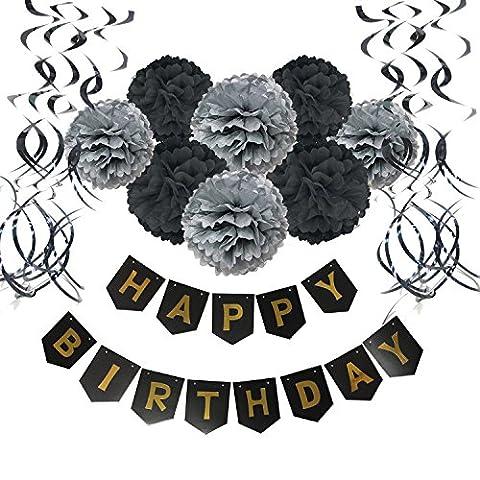 Geburtstag Dekoration, Wartoon Happy Birthday Girlande mit 15 Spiralen Dekoration und 8 Seidenpapier Pompoms für Geburtstag Dekoration, Schwarz