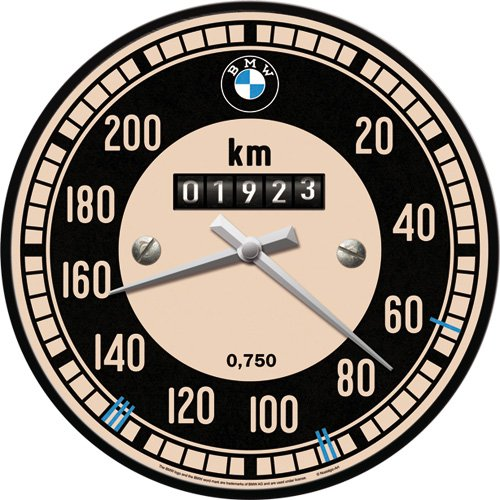 Nostalgic-Art 51080 BMW - Tachometer | Wanduhr 31cm | Hochwertige Quartz-Uhr | Echtglas-Front & Metall-Rahmen