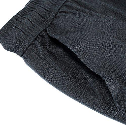donhobo Herren Hosen Leinen mit Seitentaschen Lässige Hose Loose Freizeithose Dunkelgrau