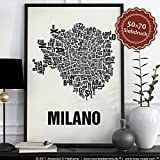 Mailand Milano Buchstabenort Schwarz auf Naturweiß