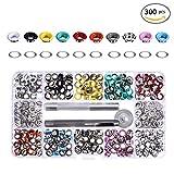 300 Stück 10 Farben Druckknöpfe Nietenkknopf Ösen mit Scheiben 5mm Durchmesser Ösen Stanzen mit 3 Stanzwerkzeugen
