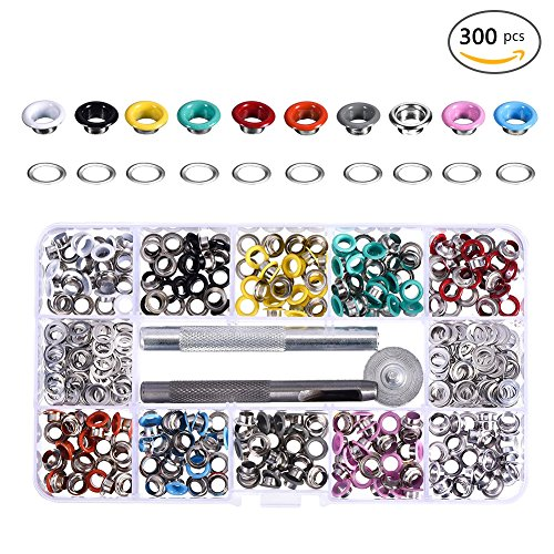 300 units, colorful eyelet buckles with mounting tools 5 mm metal Scrapbook buckles eyelets washer leather crafts clothing bags accessories spare rivets.