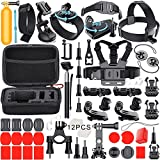 Leknes Essentials Accessories Kit for GoPro Hero 5 4 3+ Hero Session, Action Camera Mounts for Most Sports Camera in Parachuting Diving Surfing Rowing Running Cycling Camping with Case