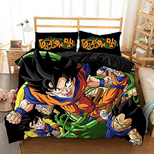 Canvas 3 Piezas Fibra superfina Funda de edredón con Funda de Almohada Moderno Habitación Funda Dragon Ball Edredón Estampado de Anime Ropa de Cama,AUSingle