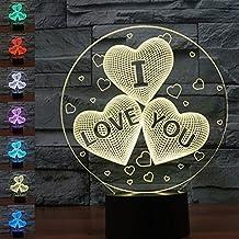 Jawell, lampada che crea un'illusione 3D, 7 colori selezionabili con il tasto touch intelligente, regalo creativo per decorare casa e ufficio, I Love U lamp, wide-mouth, 0.50W 5.0V