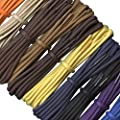 Waxed Cotton Shoelaces - 3 mm round - 12 colours - Lengths from 60 to 240 cm - Made in England : everything five pounds (or less!)
