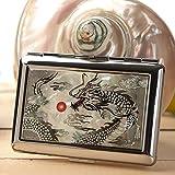 Etui à Cigarettes Pot Boîte Compact Métal Design Elegant Nacre DRAGON NOIR