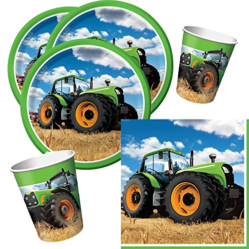 32-teiliges Party-Set Traktor - Teller Becher Servietten für 8 Kinder / Personen - Traktor-becher