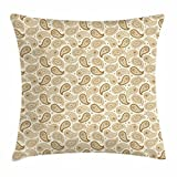 fengxutongxue Ivory Throw Pillow Cushion Cover, Persian Paisley Motifs Oriental Teardrop Shapes with Curved Tip Traditional Pattern, Decorative Square Accent Pillow Case, 18 X 18 Inches, Beige Sephia
