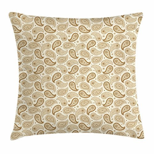 Paisley-tipi (Ivory Throw Pillow Cushion Cover, Persian Paisley Motifs Oriental Teardrop Shapes with Curved Tip Traditional Pattern, Decorative Square Accent Pillow Case, 18 X 18 Inches, Beige Sephia)