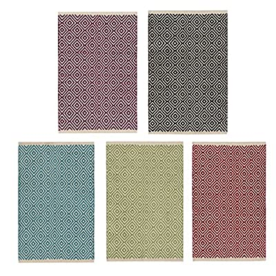 Fair Trade Diamond Weave 100% Cotton Handloom Rug with Stitched Finished edging 60 x 90cm - inexpensive UK light shop.