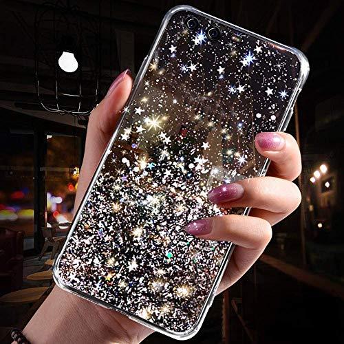 Herbests Kompatibel mit Huawei P10 Plus Hülle Transparent TPU Silikon Handyhülle Glänzend Glitzer Sterne Strass Diamant Clear Durchsichtige Case Tasche Klar Slim Stoßfest Schutzhülle,Schwarz