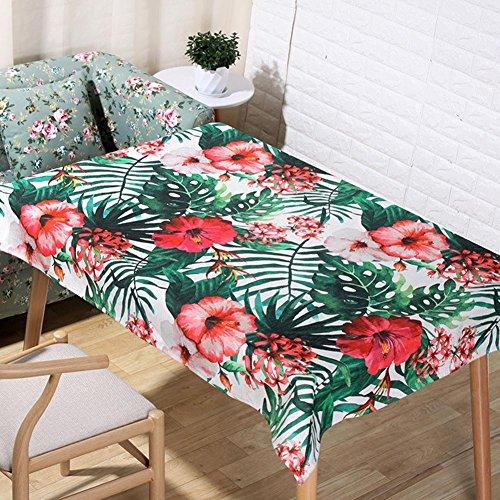 Nordique de dessin animé pastorale feuilles vertes et fleurs rouges nappes naturelles lin 3D impression numérique de table tissu maison décoration tissu serviette de couverture , 140*160cm