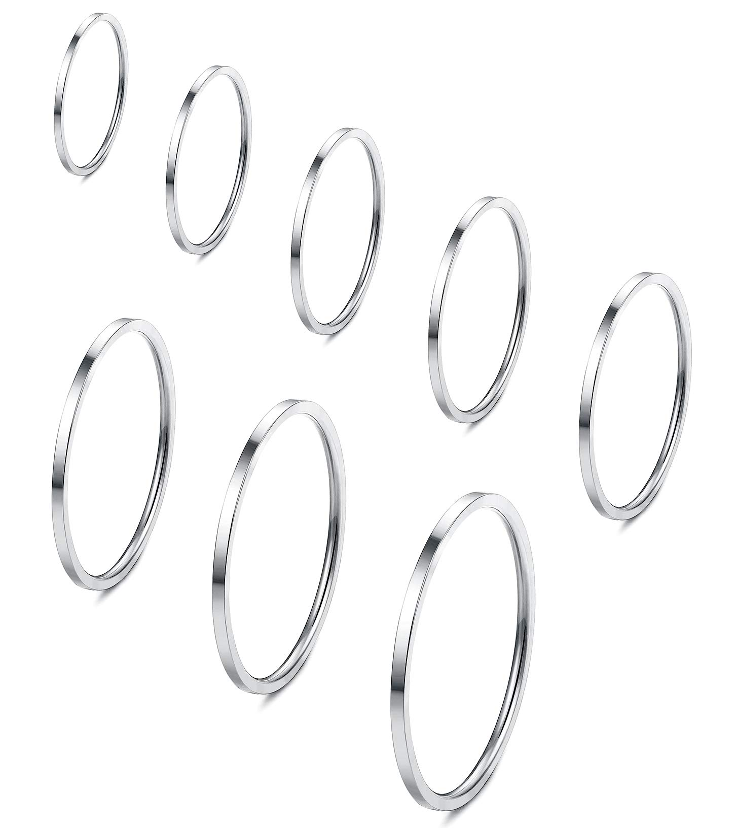 Fiasaso 8 Pcs 1mm Stainless Steel Stacking Rings Knuckle Rings Plain Rings Midi Rings Comfort Fit Size 2 to 9