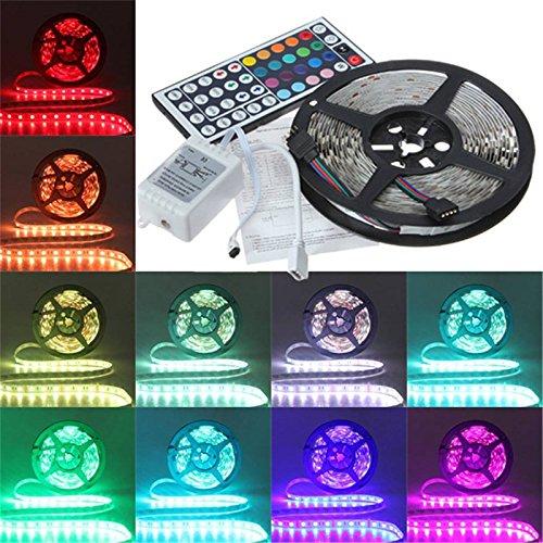 Hrph 5M 5050RGB Tira de LED 300LED impermeable + 44 Key Controller LED Strip Kit