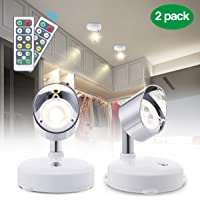 LED Spot Lights for Ceiling,Elfeland Wireless Ceiling Light Batteries Powered Under Cupboard Kitchen Lights Dimmable Wardrobe Light Rotatable Cabinet Lights with Remote Control Ideal for Indoor 2 Pack