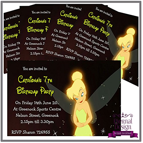 Eternal Design 5x personalisierbar Kids Birthday Party Einladungen Tinkerbell 1