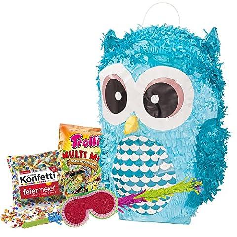 PINATA-SET: Pinata Süße Eule + Schläger + Maske + Trolli Süßigkeiten-Füllung + Konfetti - PARTYMARTY (Party-feier Pinata)