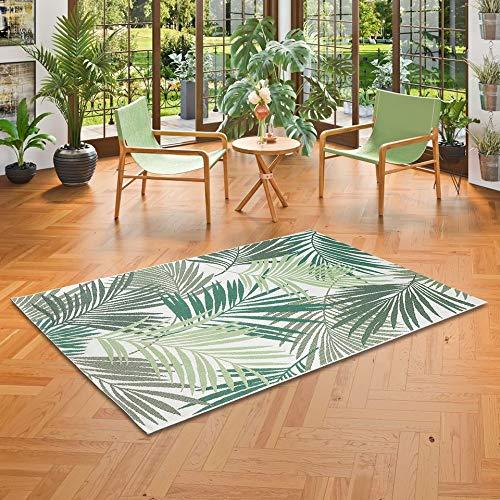 Pergamon In- und Outdoor Teppich Flachgewebe Carpetto Grün Blätter in 5 Größen - Blätter Teppich