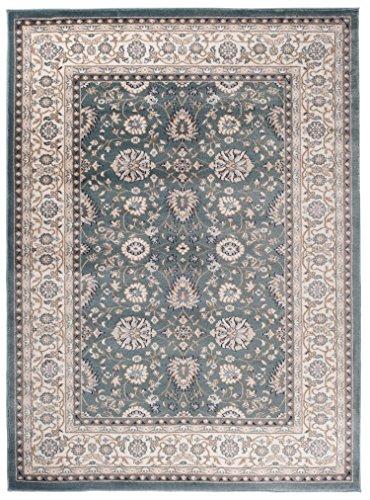 Creme Grüne Rechteck Teppich (Traditioneller Klassischer Teppich für Ihre Wohnzimmer - Dunkel Grün Creme - Perser Orientalisches Ziegler Nain Muster - Blumen Ornamente - Top Qualität Pflegeleicht