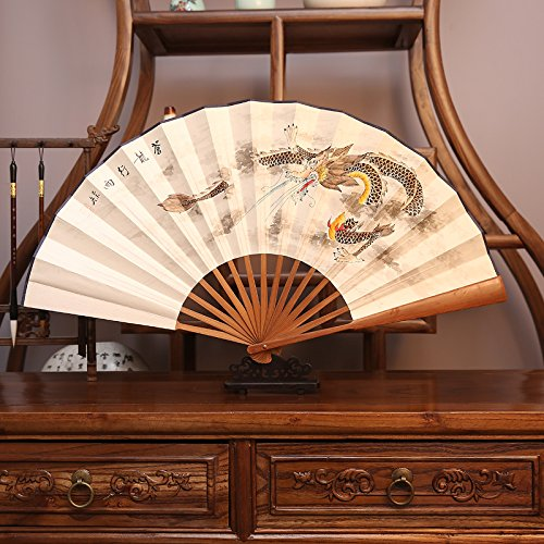 Chinesischer Kostüm Drachen Papier - XIAOHAIZI Handfächer,Sommer Chinesischen Stil Männer Bambus Fan Weiß Tier Drachen Vintage Faltfächer Für Hauptwanddekoration Männer Geschenk Fan U-Bahn Faltfächer