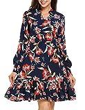 Beyove Damen Blumen Vintage Kleid Langarm V-Ausschnitt Elegant Skaterkleider Festlich Knielang Rüschen Floral Cocktailkleid Abendkleid Rockabilly Kleid