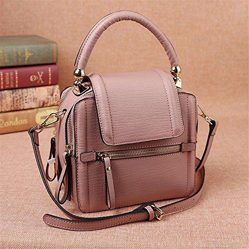 Multi-scomparto piccolo sacchetto/Mini borsa messenger in pelle/spalla borsa donna vintage Borsette in cuoio,Rosa Rosa