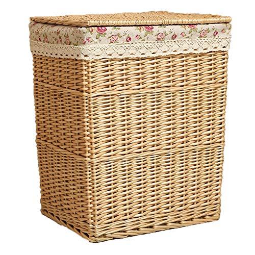 REGAL Rattan-Korb mit Deckel, Aufbewahrungskorb für Kleidung, Spielzeug-Box, Umweltschutz (größe : 46x35x50cm) -