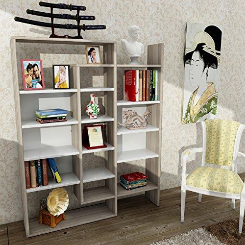 Alphamoebel - Parete attrezzata soggiorno Libreria Belinda, colore: Bianco/ Cordoba