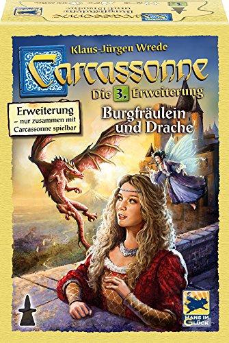 Schmidt Spiele Hans im Glück 48256 - Legespiele, Carcassonne, Burgfräulein und Drache, Erweiterung III, Neue Edition