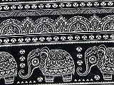 Bombay drucken Baumwolle & Leinen Canvas Stoff schwarz und