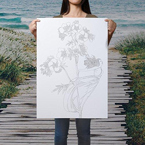 fata colorazione poster - fai da te parete boema arte - grande pagina colorare con fiori e fata - bellissimo poster fata - pagine boema coloranti per adulti - adulti pagina di coloritura - fata e illustrazione dei fiori