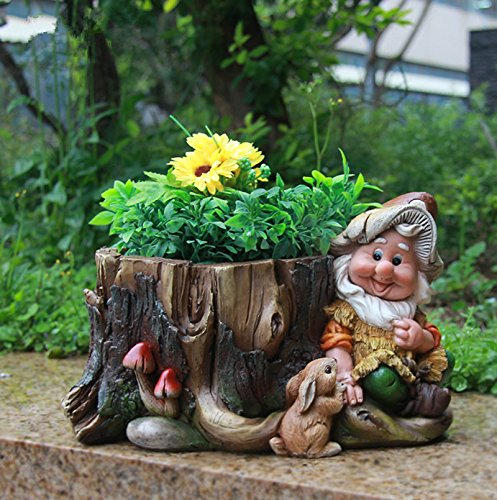 Design gnome 15198 with flower pot garden decoration 16 cm - Pot de decoration ...