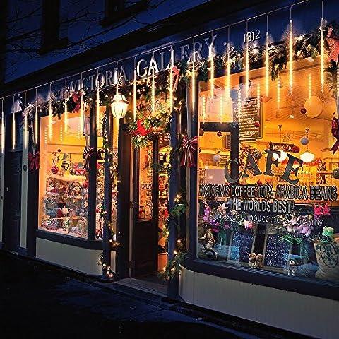 BlueFire Aktualisiert Meteorschauer Regen Lichter, 50cm 10 Tubes 540 LEDs Wasserdichte Schneefall Lichterkette für Draussen/Innenraum/Garten/Hochzeit/Party/Weihnachten Dekoration (Warmweiß)