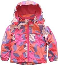 Echinodon Kinder Gefütterte Jacke mit Abnehmbarer Kapuze Regenjacke Outdoorjacke Übergangsjacke Wanderjacke