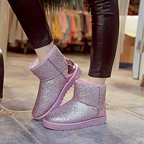HSXZ Scarpe donna pu inverno Comfort stivali Null rotonda piatta Mid-Calf Toe Stivali / per esterno rosa grigio nero Gray
