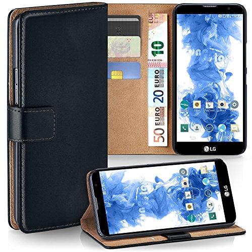 moex LG G4c | Hülle Schwarz mit Karten-Fach 360° Book Klapp-Hülle Handytasche Kunst-Leder Handyhülle für LG Magna/G4c Case Flip Cover Schutzhülle Tasche