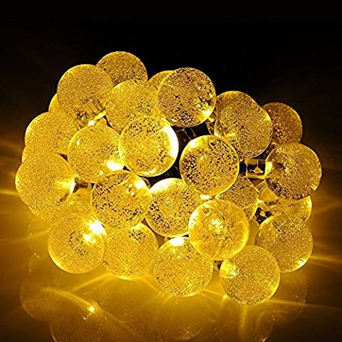 Dephen Solar String Lights,8 Mode 19.7ft 30 LED Fairy Crystal Ball Lighting Waterproof Outdoor Globe Christmas Lights for Christmas Tree,Garden,Patio, Wedding,Party and Holiday Decoration(Warm