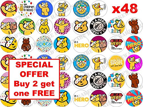 48-x-3cm-BBC-Children-in-Need-Pudsey-Bear-Spots-Fairy-Muffin-Cup-Cake-Toppers-Decoration-Edible-Rice-Wafer-Paper