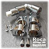 Roca Element & Frontalis Chrome Soft Close Toilet Seat Hinge Set With End Cap Fixings & Dampers