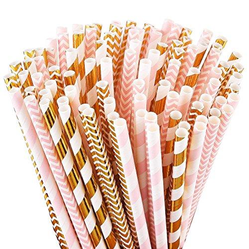 CTGVH biologisch abbaubar Papier Trinkhalme, 200Stücke, Creative Verschiedenen Mustern Papier Trinkhalme Party Supplies, Geburtstag, Baby Dusche, Hochzeiten Feiern, Papier, Colored, Gold/Pink Straws